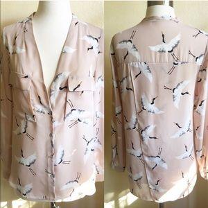 Zara | Small Crane Bird Button Up Top